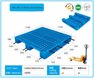 Anti-Static 3 Runners Grid Plastic Pallets 1100*1100 pictures & photos