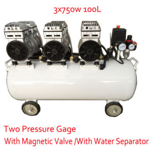 3X750W 100L with Double Pressure Gage Magnetic Valve Oil Free Air Compressor pictures & photos