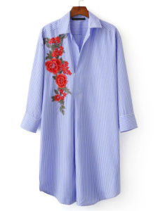 Blue Striped Flower Embroidered Applique Shirt Dress pictures & photos