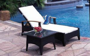 Outdoor Garden Rattan Furniture 2PCS Lounge Set in Black Wicker