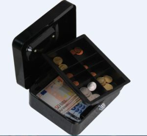 Hot Sale Portable Metal Cash Box with Removable Plastic Tray pictures & photos