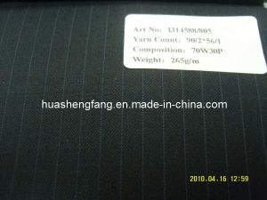 70% Wool Worsted Fabric / Fancy Suiting Fabric with Stripes (I314588/805)