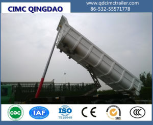 Cimc Carbon Steel Side Rear Dump Trailer with Hydraulic Cylinders Truck Chassis pictures & photos