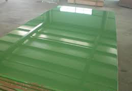 China green glossy polyester plywood poplar core e1 glue for Green board exterior sheathing