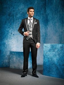 Silver Black Men Suits Dress Wedding Evening Groom Tuxedos M14019 pictures & photos