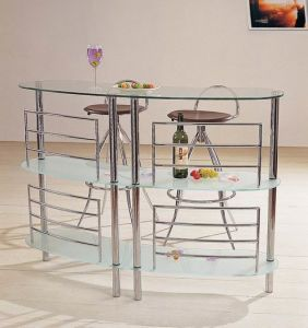 Modern Tempered Glass Bar Table Wine Rack (B002) pictures & photos