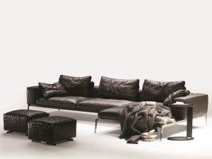 Antique Upholstered Leather L Shape Sofa Set for Home (LS-007)