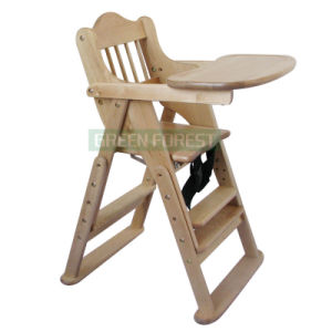 Clear Lacquer Wooden Baby Dining Chair (GF-CD005)