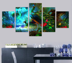 HD Printed Peacock Animal Painting Canvas Print Room Decor Print Poster Picture Canvas Mc-085 pictures & photos