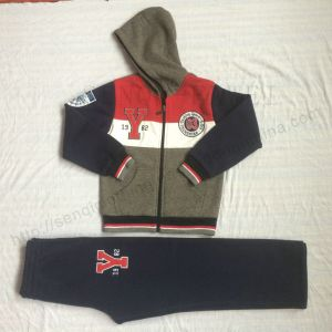Zipper Boy Sport Suit Clothes in Kids Fleece 2 PCS Clothes Sets Sq-6712 pictures & photos
