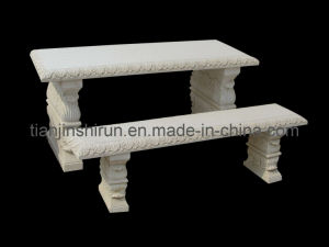 White Marble Rectangular Table and Bench Set (2217) pictures & photos