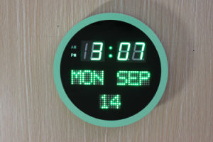 Round Shape LED Clock with Date and Time (ZT-043C-2) pictures & photos