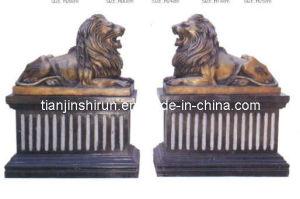 Cast Bronze Lion Sculpture on Black Marble Base (SL401) pictures & photos
