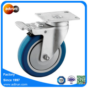 Swivel Plate Caster with 5 in PU Ball Bearing Wheel pictures & photos