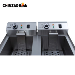 17L Dual Tank Stainless Steel Electric Deep Fryer with Drain Tap pictures & photos