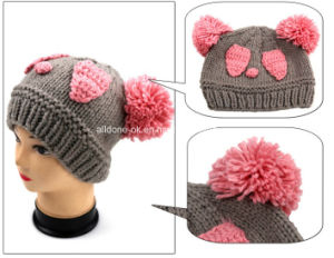 Hand Knit Panda Hat Animal Beanie with POM POM Ears pictures & photos