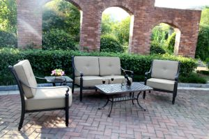 Elegant Loveseat Chat Group Garden Cast Aluminum Furniture pictures & photos
