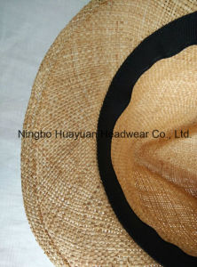 100% Bao Straw Wide Band Fedora Straw Hat pictures & photos