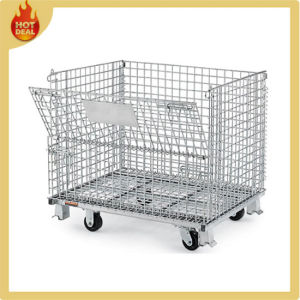 Folding Galvanized Wire Mesh Container Cage with Wheels pictures & photos