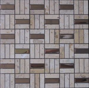 Metal Mixed Natural Stone Tile Marble Mosaic Floor Tile (FYSM012) pictures & photos