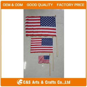 Printed Polyester Hand Flag with Plastic Pole pictures & photos