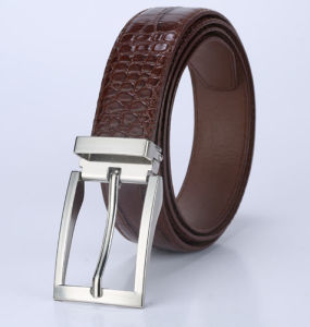 High Quality Auto Buckle Brown Leather Men′s Belt (AS-009)