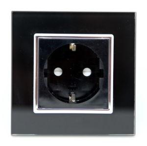 EU Standard Black 16A Tempered Glass Plug Power Socket