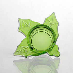 Leaf Shaped Glass Tealight Candle Holder with Spraying Color Finish pictures & photos