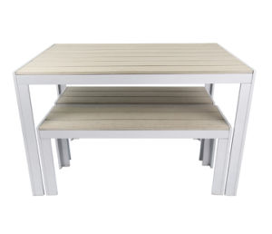 Modern Plastic Timber Outdoor Table Dining Set (PWC-15581) pictures & photos
