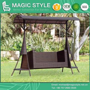 Outdoor Rattan Double Swing Synthetic Wicker 2-Seater Hammock with Roof (Magic Style) pictures & photos