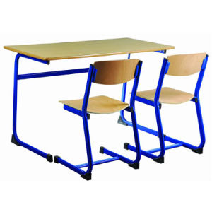 Popular School Furniture Classroom Double Student Desk and Chair (FS-3227) pictures & photos