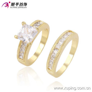Hot-Sale Fashion Luxury Bridal Set Gold Jewelry Couple Round Ring with Crystal 13508 pictures & photos
