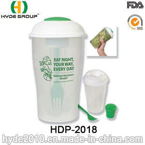 Wholesale Plastic Salad to Go Shaker Cup with Fork (HDP-2018) pictures & photos
