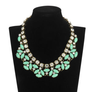 Turquoise Stone with Diamonds Necklace (XJW13608) pictures & photos
