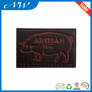 Fashion Brand Design Jeans Denim Borwn Custom Embossed Leather Patch pictures & photos