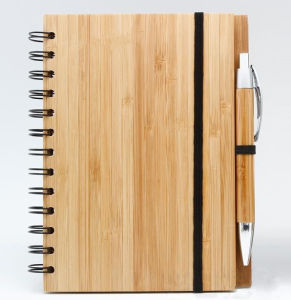 Bamboo Cover Spiral Note Book with Bamboo Pen pictures & photos