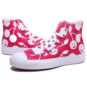 High Top Cheap Womens White/Red Cherry Print Canvas Shoes pictures & photos