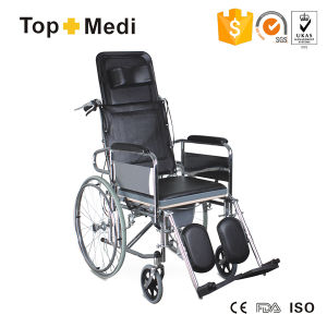 Topmedi Transit Steel Reclining Commode Wheelchair with Plastic Bedpan pictures & photos