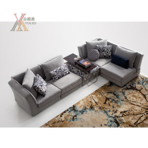 Modern Simple Style Fabric Sofa Set with Ottoman (1609) pictures & photos