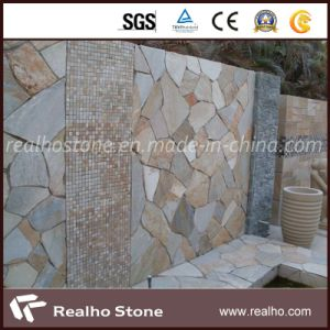 Irregular Shape Yellow Wooden Slate/Flagstone Without Mesh pictures & photos