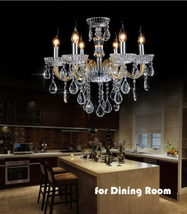 Fashion Home / Hotel Gold Crystal Ceiling Chandelier Lighting, Gold Glass Tube with K9 Crystal Drops pictures & photos