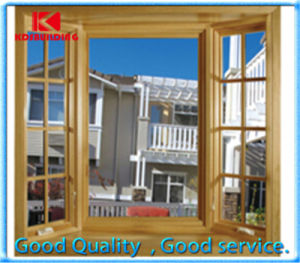 European Standard Solid Wood Awning Window with Grill Design