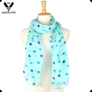 Fashion 100 Polyester Cute Girl Heart Print Scarf pictures & photos