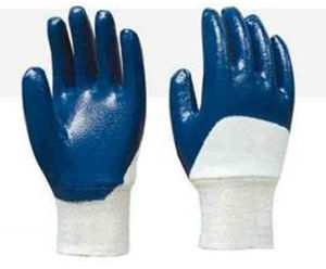 Cotton Jersey Nitrile Half Coating Glove pictures & photos