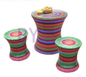 New-Style Rainbow Round Rattan Three-Piece Garden Home Furniture pictures & photos
