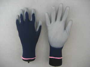 Dark Blue 13G PU Coated Safety Work Glove pictures & photos
