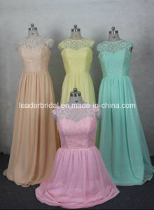 Chiffon Evening Gowns Cap Sleeves Lace Top Party Prom Bridesmaid Dresses Z5078 pictures & photos