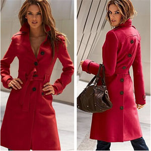 New Women′s Long Slim Wool Single Breasted Overcoats Jacket Belt pictures & photos