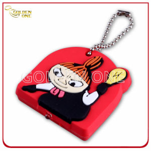 Fancy Style Embossed Printing Soft PVC Keychain with Mirror at Back pictures & photos