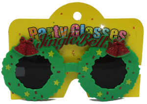 Party Glasses with Jinglebells Green